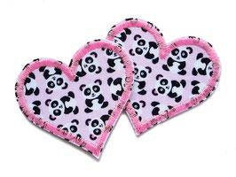 Herz Applikation Pandabär 2er Set