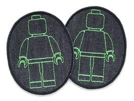 2 Knieflicken Legomännchen neon grün