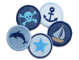 Set 5 Jeansflicken mini maritim