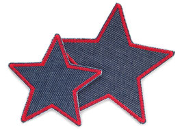 Stern Jeans Aufnäher rot