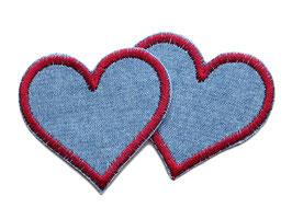 Jeans Flicken Herz rot Mini 2er Set