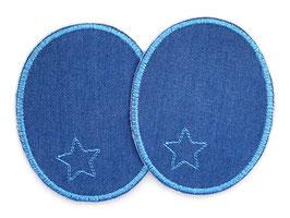2 Jeansflicken Sternchen hellblau