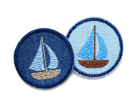 Jeansflicken Segelboot Patch 2er Set
