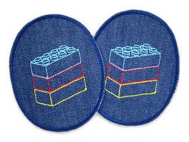 2 Knieflicken Legosteine dunkelblau