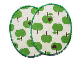 2 Knieflicken kleine grüne Äpfel