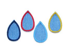 Regentropfen Bügelbilder Jeans 4er Set
