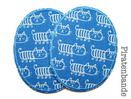 2 Knieflicken Katzen blau