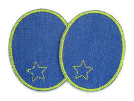 2 Jeansflicken Sternchen hellgrün