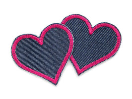 Herz Jeansflicken pink Mini 2er Set