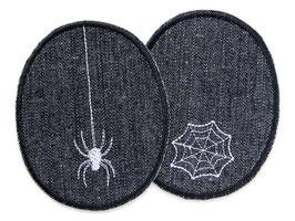 2 Jeansflicken Spinne und Spinnennetz