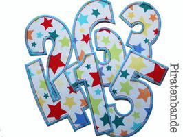 Geburtstagszahlen Aufbügler Sterne bunt