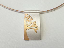 Lebensbaum-Anhänger aus 925er Silber mit 750er Roségold