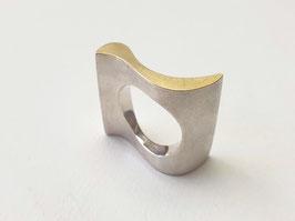 Wellenring aus 925er Silber mit Feingold