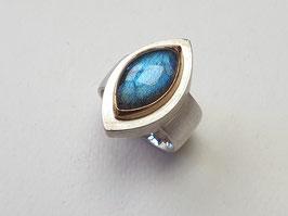 Labradorit Ring aus 925er Silber mit 900er Gold