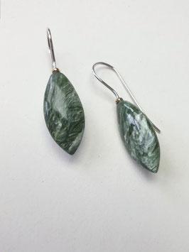 Seraphinit-Ohrhänger mit Silber und 750er Gold