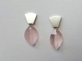 Blatt-Ohrhänger aus 925er Silber mit Rosenquarz