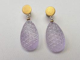 Große Amethyst-Ohrhänger aus 925er Silber und Feingold