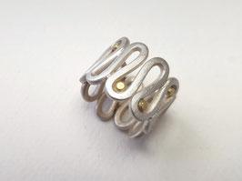 Wickel Ring aus 925er Silber mit 750er Gold-Kügelchen
