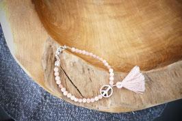 Armband Mondstein mit Baumwollquaste  - Peace -