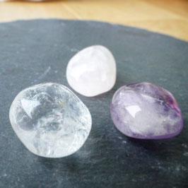 Goldenes Dreieck -Bergkristall, Rosenquarz, Amethyst