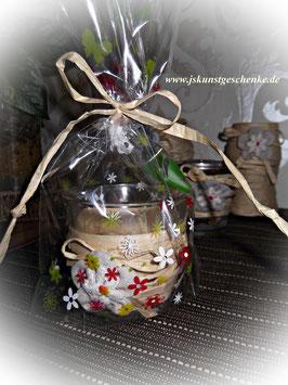 Teelichtglas im Geschenkbeutelchen