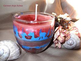 "Handgegossene Kerze im Glas ""Feuer & Wasser"""