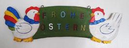 """Holzbrett """"FROHE OSTERN"""" zum aufhängen ca. 3,5 cm lang"""