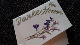 """Karte """"Getrocknete Blüten/Danke - Von Herzen"""" - Klappkarte mit Umschlag"""