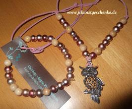 "Kette & Armband ""Glückseule"" (rosa schimmernd)"