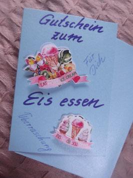 """Klappkarte mit Umschlag """"Gutschein zum Eis essen"""""""""""
