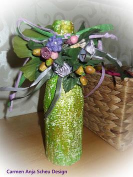 Vase (grün/gold -Blumen)