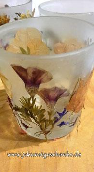 "Teelichtglas ""Getrocknete Blüten 1"""