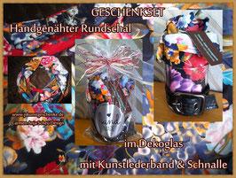 """Geschenkset """"Blumen-Rundschal im Glas"""""""