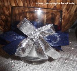 """Teelichtglas """"Silberblau"""""""