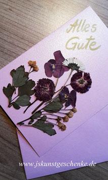"""Karte """"Getrocknete Blüten/rosa - Alles Gute"""" - Klappkarte mit Umschlag"""