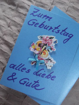 """Klappkarte mit Umschlag """"Zum Geburtstag alles Liebe & Gute"""""""
