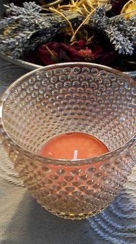 """Teelichtglas """"Eleganza"""" mit großem Duft-Teelicht """"Orange"""""""
