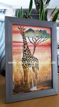 "Kunst-Fotodruck ""AFRIKA"" im Bilderrahmen & Kokosnussschale mit Kerze im Set"