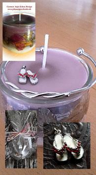 GESCHENKSET: Handgegossene Kerze im Glas mit getrockneten Blüten, Armreif & Anhänger