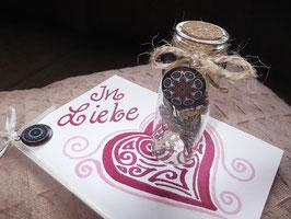 """Klappkarte """"In Liebe"""" mit Mandala-Anhänger & Gläschen mit getrockneten Blüten & Anhänger"""