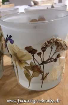 "Teelichtglas ""Getrocknete Blüten 3"""