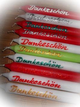 """10 Stabkerzen bunt gemischt mit Wachsaufschrift """"Dankeschön"""""""