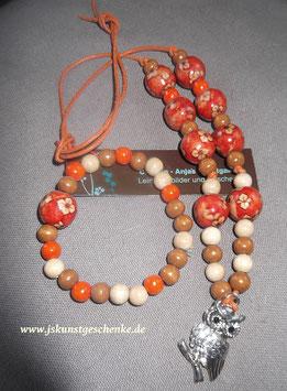 "Kette & Armband ""Eule"" (Orange/Blumen)"