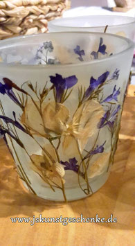 "Teelichtglas ""Getrocknete Blüten 4"""