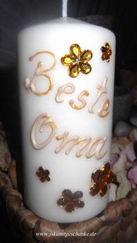 """Kerze mit goldfarbener Aufschrift """"Beste Oma"""""""