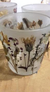 "Teelichtglas ""Getrocknete Blüten 2"""