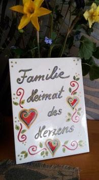 """Fliese """" Familie - Heimat des Herzens (Herzen)"""