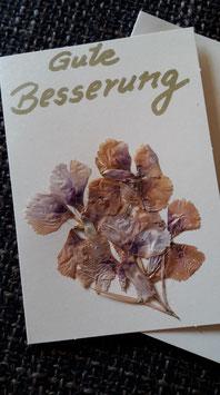 """Karte """"Getrocknete Blüten/Gute Besserung"""" - Klappkarte mit Umschlag"""
