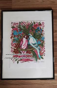 """Gemaltes Bild im Bilderrahmen """"Tropical Birds"""""""