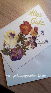 """Karte """"Stiefmütterchen, Hornveilchen, Primel, Vergissmeinnicht"""" - Klappkarte mit Umschlag"""